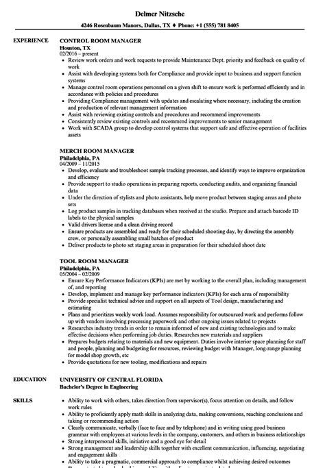 Records Description Resume by Room Manager Resume Sles Velvet