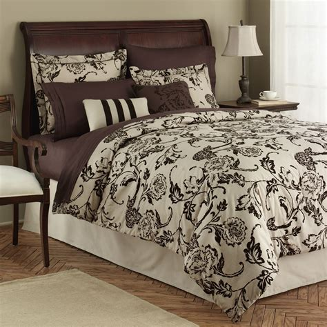 jaclyn smith flocked roses comforter set home bed