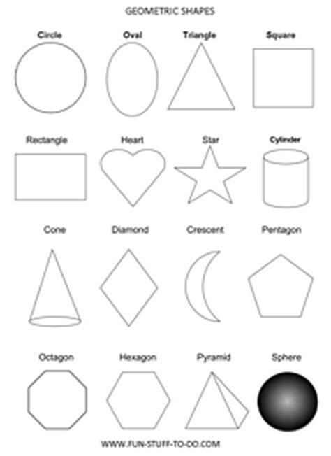 geometric shapes worksheets   print