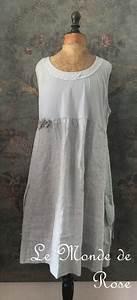 Vêtements En Lin Et Coton : robe lin et coton shabby chic grise le monde de rose ~ Carolinahurricanesstore.com Idées de Décoration
