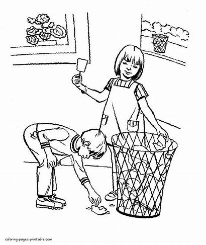 Coloring Pages Earth Cleaning Children Doing Clean