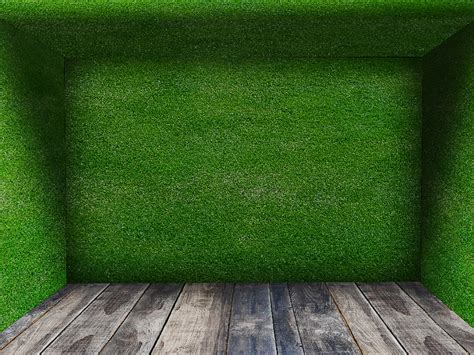 Grass Room With Wooden Floor Background Free (Brick And