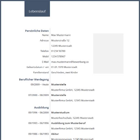 Tabellarischer Lebenslauf Vorlage Word by Muster Lebenslauf Word Muster Lebenslauf Kostenlos 2015