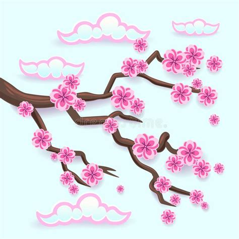 Branch Of Pink Sakura Japanese Cherry Tree Blossom Stock