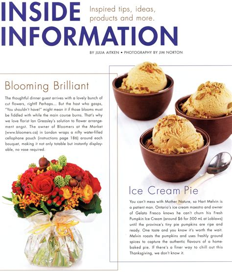articles cuisine food and drink magazine article inside information by