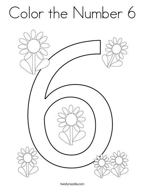 number 6 coloring page federalgrantsource