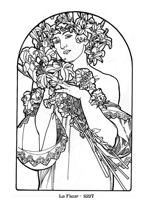 Jugendstil Kleurplaat by Alphonse Mucha Coloring Pages Figurative Designs I