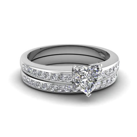 heart channel diamond wedding set in 14k white gold