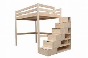 Lit 1 Place Mezzanine : lit mezzanine sylvia avec escalier cube pin massif abc meubles ~ Melissatoandfro.com Idées de Décoration
