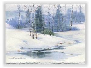 Winter Landscape Christmas Watercolor Greeting Card by