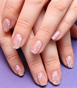 White Flowers On Nude Nails Wedding Nail Art