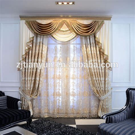 high end ready made european curtain with attached valance