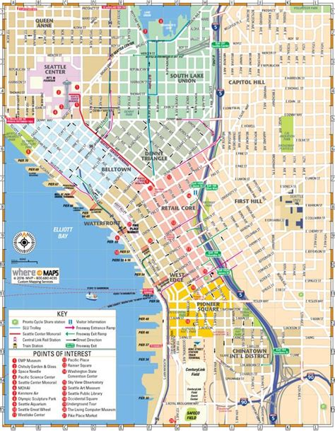 map  downtown seattle interactive  printable maps