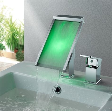 color changing lighted led glass waterfall faucet