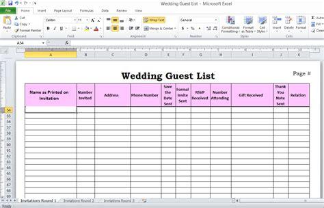 wedding guest list  excel