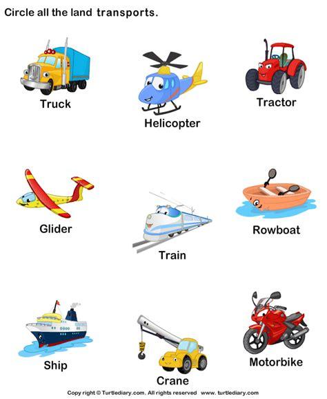 Means Of Transportation By Land Worksheet