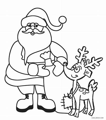 Santa Coloring Pages Printable Reindeer Cool2bkids