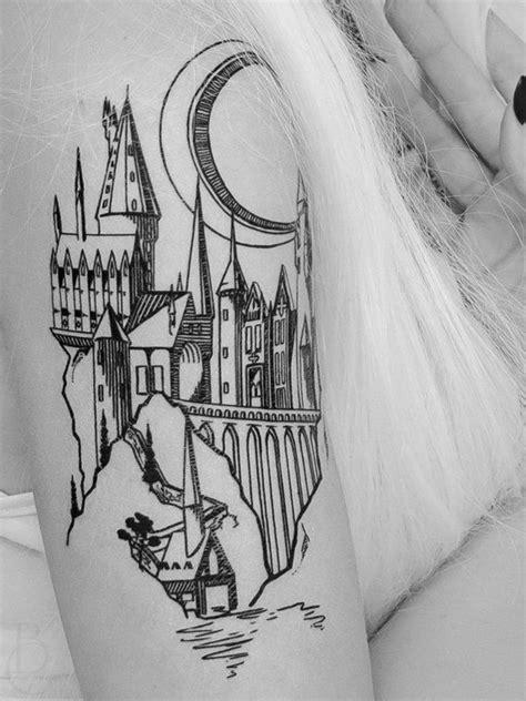 Magic Castle Linework Tattoo | Hogwarts tattoo, Castle tattoo, Tattoos