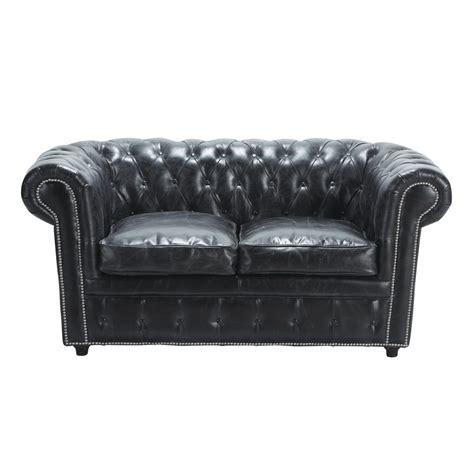 sofa vintage leder gepolstertes sofa 2 sitzer aus leder schwarz vintage vintage maisons du monde