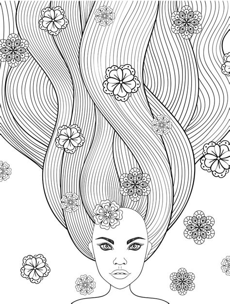 printable adult coloring pages  long hair girls