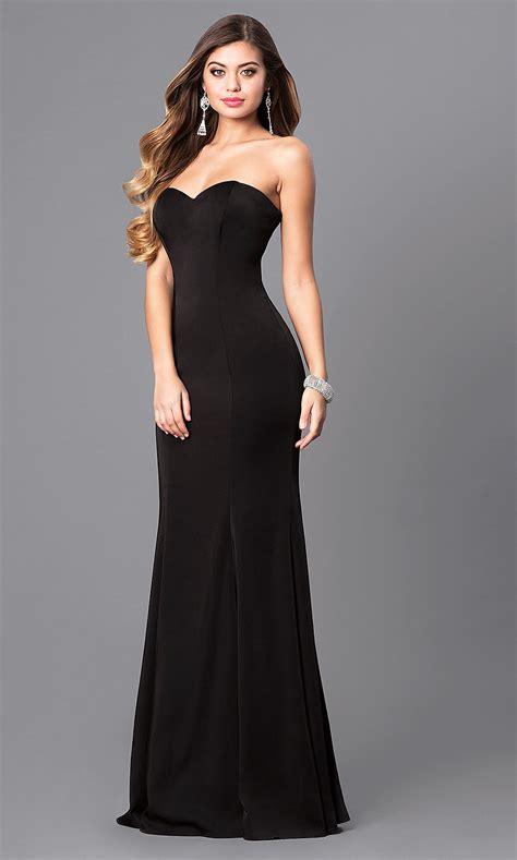 strapless long satin mermaid prom dress promgirl