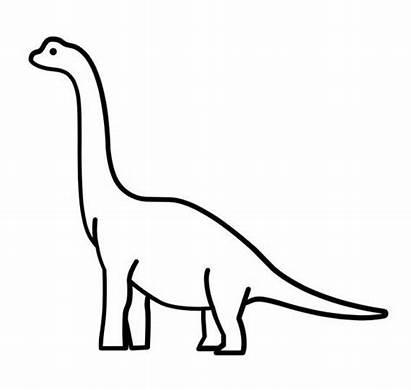 Dinosaur Neck Langhals Easy Brachiosaurus Outline Brontosaurus