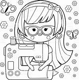 Sewing Machine Seamstress Coloring Pages Vector Clip Template Illustrations Woman Designlooter Sheets Illustration sketch template