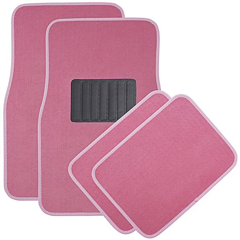 floor mats car floor mats for auto 4pc carpet semi custom fit heavy duty w heel pad pink ebay