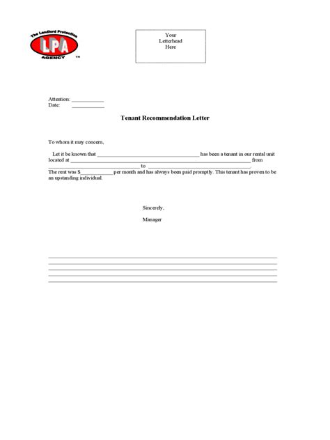 tenant recommendation letter landlord reference letter template 5 free templates in 29047