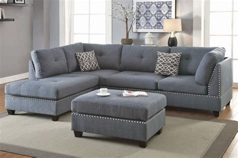 Blue Grey Sofa by 3 Sectional Sofa With Ottoman Blue Grey Color F6975