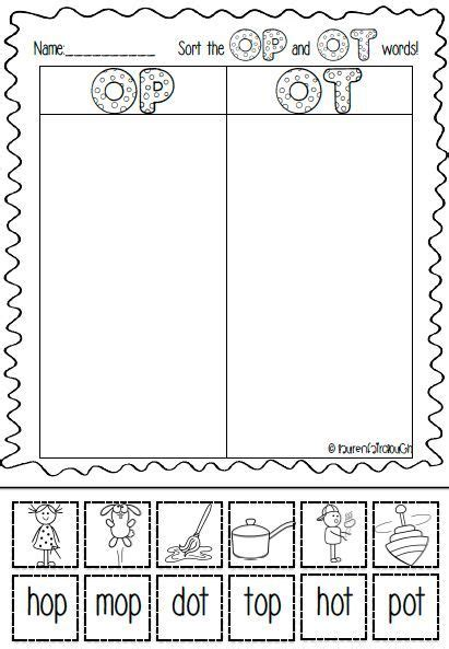 op and ot word family full of literacy and spelling games activities and worksheets