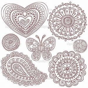 Henna Muster Schablone : simple doodle ideas hand drawn henna mehndi paisley tattoo doodles heart flower mandala ~ Frokenaadalensverden.com Haus und Dekorationen