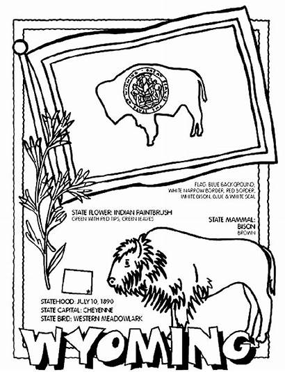 Wyoming Coloring Pages Crayola State Flag States