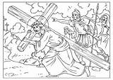 Calvary Coloring Road Pages Template Kleurplaat Sketch Calvaire Coloriage Printable sketch template