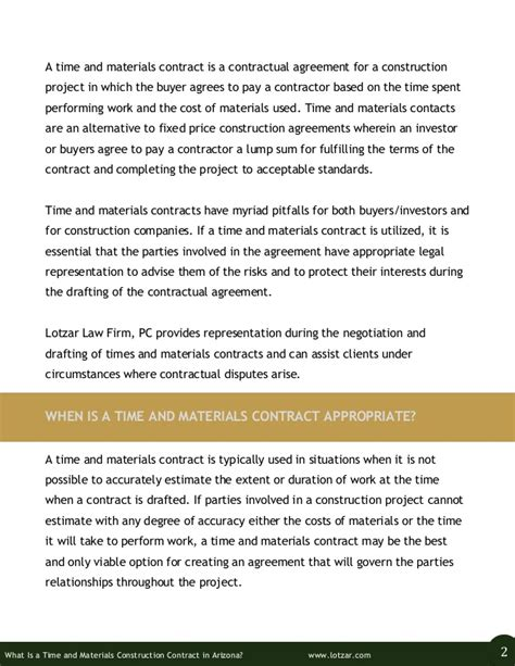 time and materials contract what is a time and materials construction contract in arizona