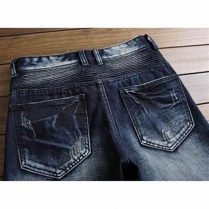 Ripped Jeans Punk Semi Biker Zip Leg