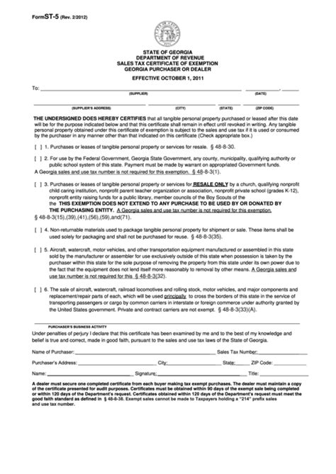 fillable form st 5 sales tax certificate of exemption
