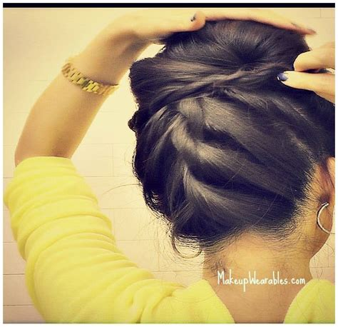 korean bun upside  braid bun easy step  step