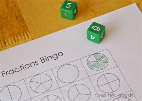 bingo fractions math game  images fraction bingo