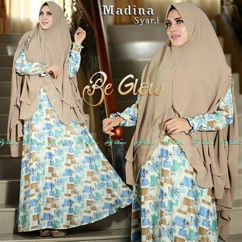 jual madina syari be glow hijaber set terbaru gamis syari modis keren original di lapak