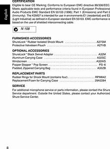 Shure Cardioid Condenser Microphone Ksm27 Users Manual