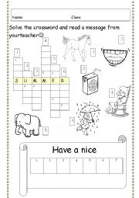 English Worksheets Last Day Of School Last Lesson (holiday) Crossword