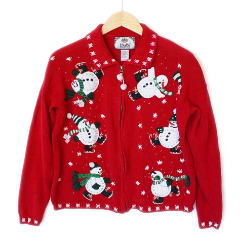 igly sweater skating snowmen tacky sweater the