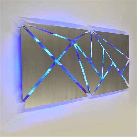 fracture lighted metal wall art sculpture  led color