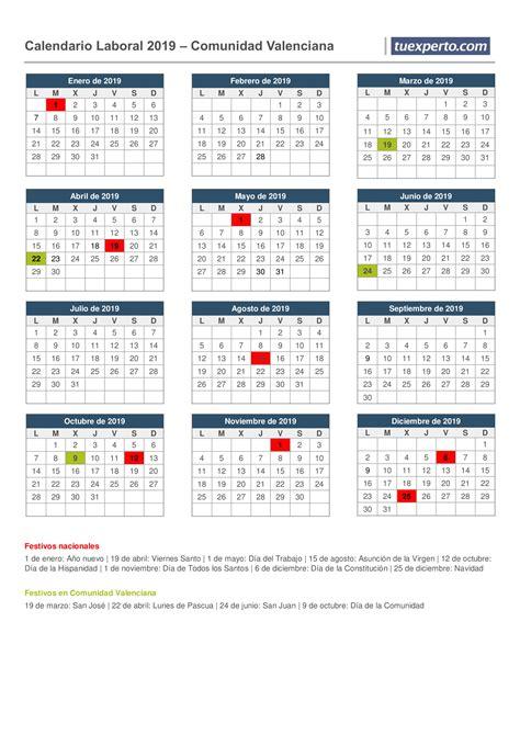 calendario laboral calendarios festivos por