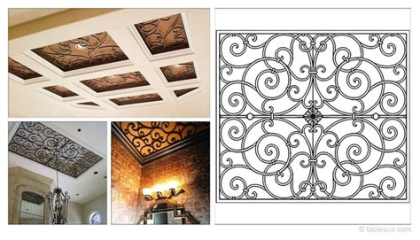 rectangular   faux iron grille ceiling treatments