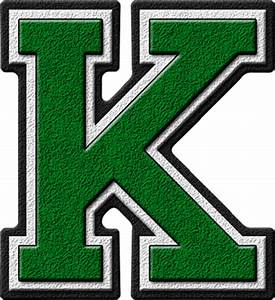 presentation alphabets green varsity letter k With varsity letter alphabet