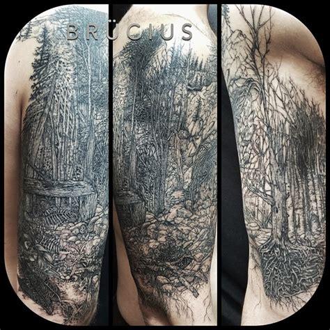 graphic dark forest shoulder tattoo  tattoo ideas