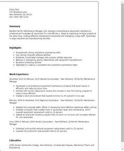 facilities manager resume objective professional facility maintenance manager templates to showcase your talent myperfectresume