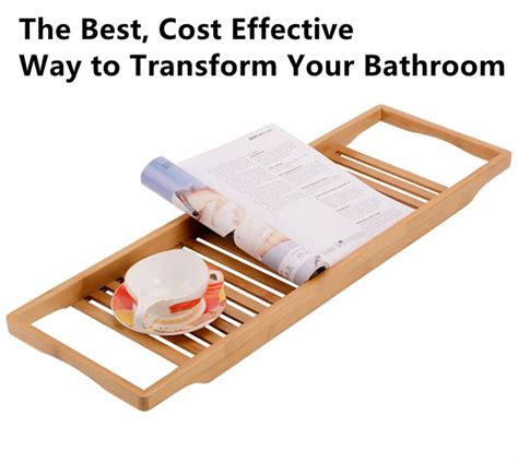 bamboo bath caddy with reading rack new design bathroom organization luxury durable bamboo